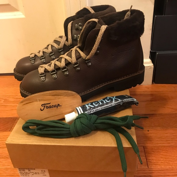 3ab8807eccd NEW Fracap Fur-Trim Leather Lace-Up Boot NWT